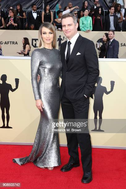 Actor Natalie Zea and Travis Schuldt attend the 24th Annual Screen Actors Guild Awards at The Shrine Auditorium on January 21 2018 in Los Angeles...