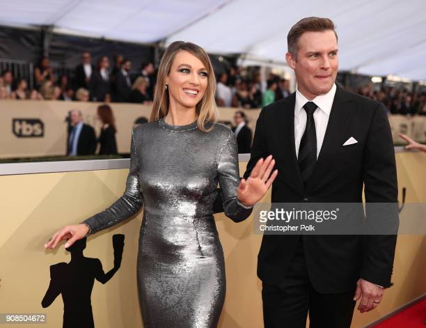 Actor Natalie Zea and Travis Schuldt attends the 24th Annual Screen Actors Guild Awards at The Shrine Auditorium on January 21 2018 in Los Angeles...