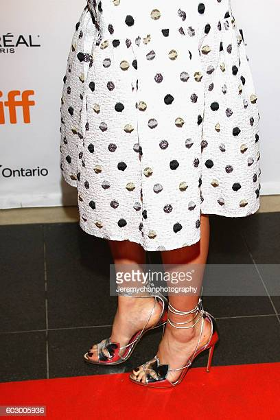 Actor Natasha Bassett fashion detail attends the Katie Says Goodbye premiere held at TIFF Bell Lightbox during the Toronto International Film...