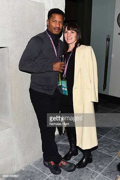 Actor Nate Parker and Sarah DiSanto attends An Artist at the Table cocktails and dinner program benefit during 2016 Sundance Film Festival at the...