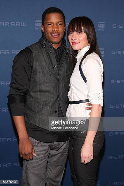 Actor Nate Parker and wife Sarah Parker pose backstage at the G Star Fall 2009 fashion show during MercedesBenz Fashion Week at the Hammerstein...