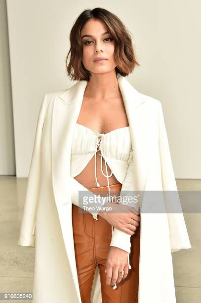 Actor Nathalie Kelley attends the Dion Lee fashion show during New York Fashion Week The Shows at Gallery I at Spring Studios on February 10 2018 in...