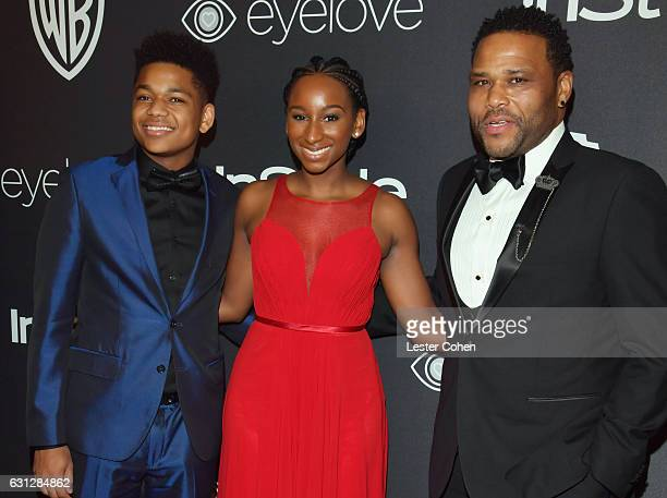 Actor Nathan Anderson Kyra Anderson and actor Anthony Anderson attend the 18th Annual PostGolden Globes Party hosted by Warner Bros Pictures and...