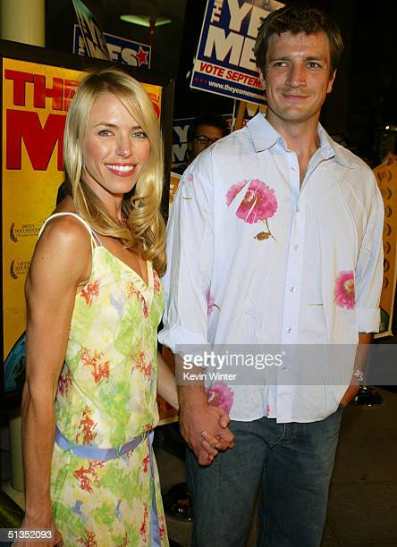 Actor Nathan Fillion and actress Andrea Robinson arrives to the premiere of United Artists' film The Yes Men on the opening night of the Silver Lake...
