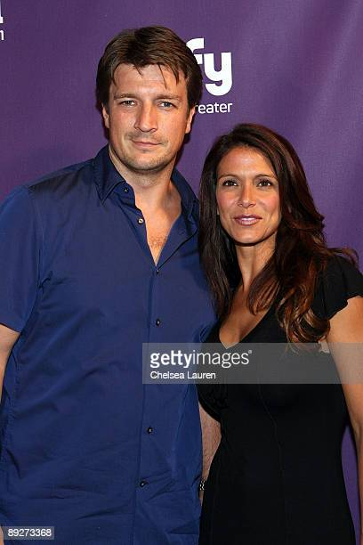 Actor Nathan Fillion and actress Darla Delgado attend the Entertainment Weekly and Syfy party celebrating Comic-Con at Hotel Solamar on July 25, 2009...