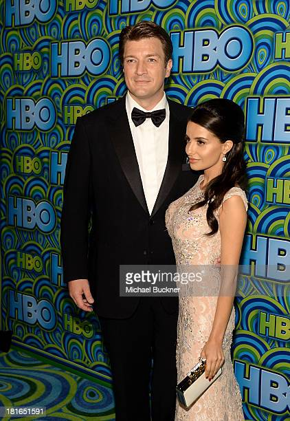 Actor Nathan Fillion and actress Mikaela Hoover attend HBO's Annual Primetime Emmy Awards Post Award Reception at The Plaza at the Pacific Design...