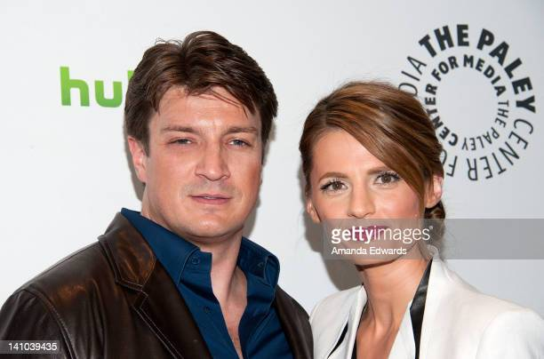 "Actor Nathan Fillion and actress Stana Katic arrive at PaleyFest 2012 Presents ""Castle"" at the Saban Theatre on March 9, 2012 in Beverly Hills,..."