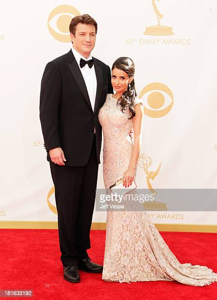 Actor Nathan Fillion and Mikaela Hoover arrive at the 65th Annual Primetime Emmy Awards held at Nokia Theatre LA Live on September 22 2013 in Los...