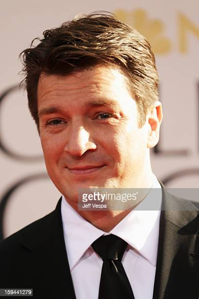 Actor Nathan Fillion arrives at the 70th Annual Golden Globe Awards held at The Beverly Hilton Hotel on January 13 2013 in Beverly Hills California