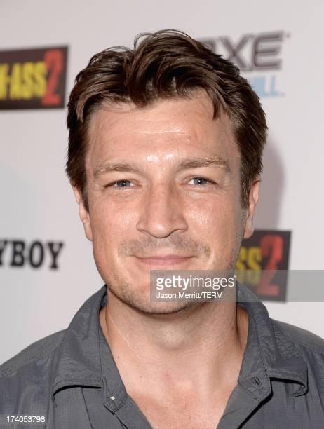 Actor Nathan Fillion arrives at the Playboy and Universal Pictures' 'KickAss 2' event at ComicCon sponsored by AXE Black Chill on July 19 2013 in San...