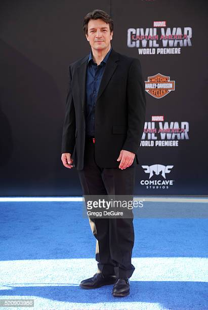 Actor Nathan Fillion arrives at the premiere of Marvel's 'Captain America Civil War' on April 12 2016 in Hollywood California