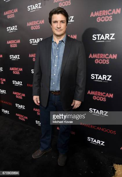 Actor Nathan Fillion attends the 'American Gods' premiere at ArcLight Hollywood on April 20 2017 in Los Angeles California