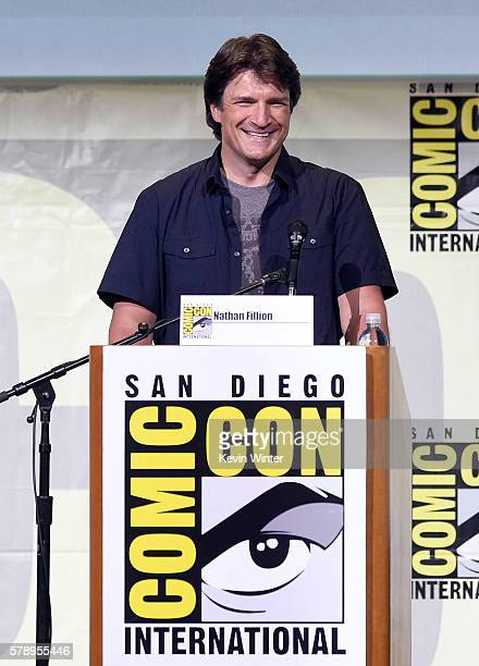 Actor Nathan Fillion attends the Con Man panel during ComicCon International 2016 at San Diego Convention Center on July 22 2016 in San Diego...