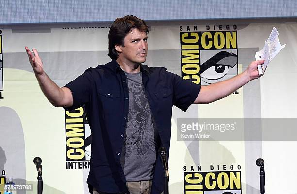 Actor Nathan Fillion attends the 'Con Man' panel during ComicCon International 2016 at San Diego Convention Center on July 22 2016 in San Diego...