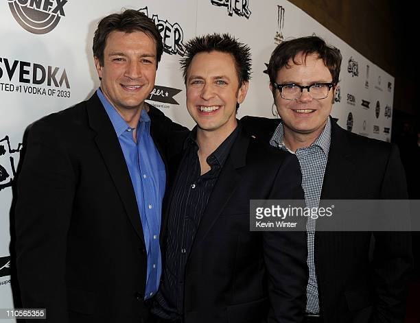 Actor Nathan Fillion director James Gunn and actor Rainn Wilson arrive at the premiere of IFC Midnight's 'Super' at the Egyptian Theatre on March 21...
