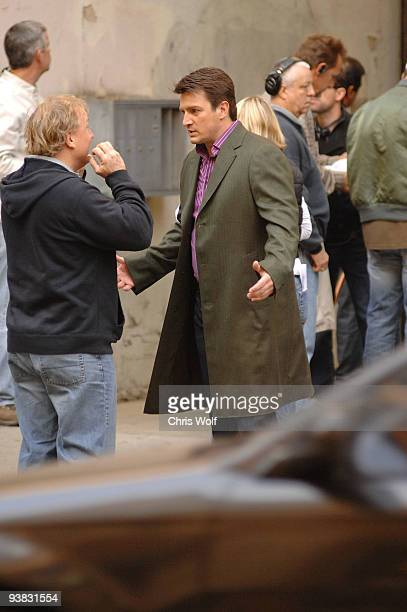 Actor Nathan Fillion is seen on the set of 'Castle' on December 3 2009 in Los Angeles California