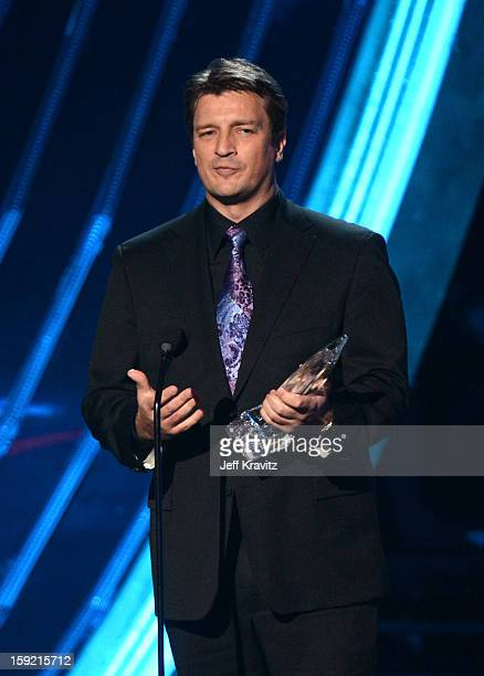Actor Nathan Fillion onstage during the 2013 People's Choice Awards at Nokia Theatre LA Live on January 9 2013 in Los Angeles California