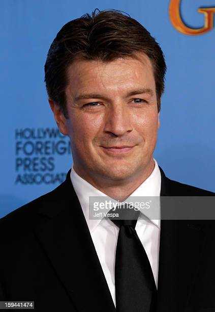 Actor Nathan Fillion poses in the press room at the 70th Annual Golden Globe Awards held at The Beverly Hilton Hotel on January 13 2013 in Beverly...