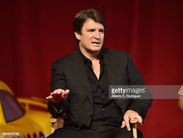 Actor Nathan Fillion speaks at the Cars 3 Press Conference at Anaheim Convention Center on June 10 2017 in Anaheim California