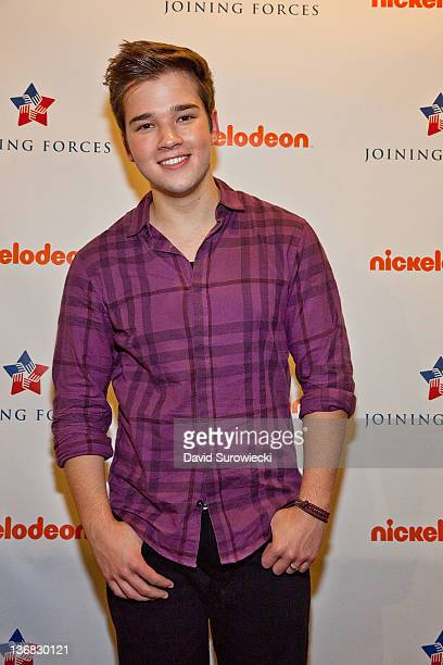 Actor Nathan Kress poses backstage at the auditorium at Naval Submarine Base New London on January 11 2012 in Groton Connecticut The cast of...