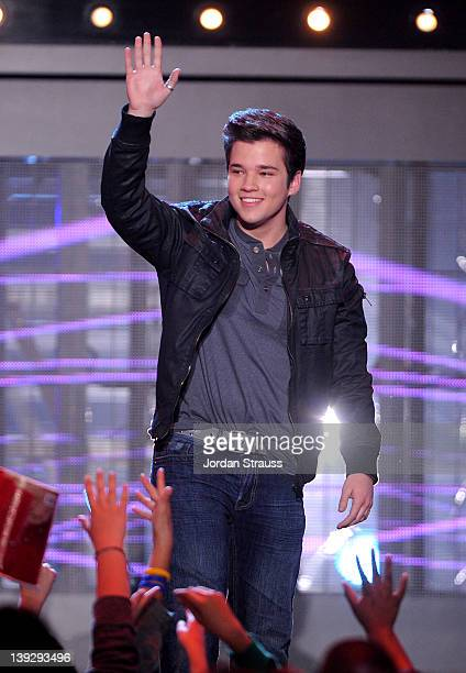 Actor Nathan Kress speaks onstage during the 2012 Cartoon Network Hall of Game Awards at Barker Hangar on February 18 2012 in Santa Monica California...