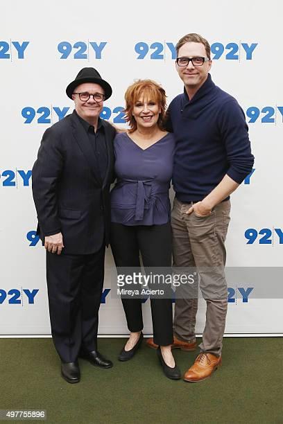 Actor Nathan Lane comedian Joy Behar and writer Devlin Elliott at 92nd Street Y on November 18 2015 in New York City