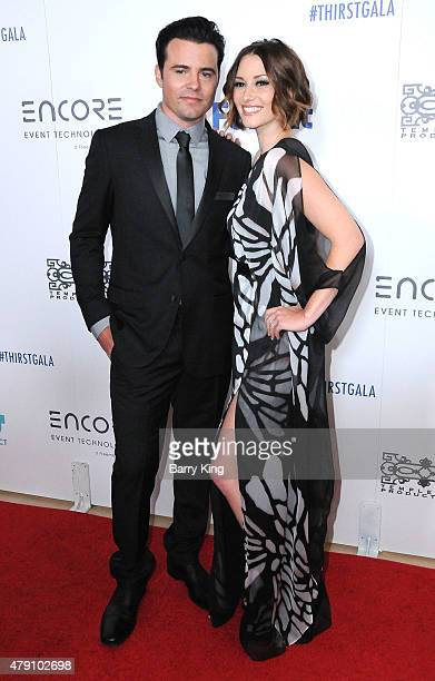 Actor Nathan West and actress Chyler Leigh arrive at the 6th Annual Thirst Gala at the Beverly Hilton Hotel on June 30 2015 in Beverly Hills...