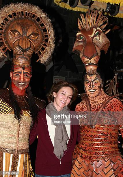 Actor Nathaniel Stampley actress Diane Lane and actor Derek Smith pose backstage at Disney's 'The Lion King' on Broadway at The Minskoff Theater on...