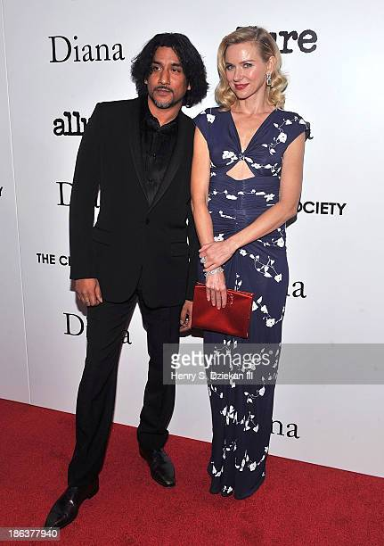 Actor Naveen Andrews and actress Naomi Watts attend The Cinema Society with Linda Wells Allure Magazine premiere of Entertainment One's Diana at SVA...
