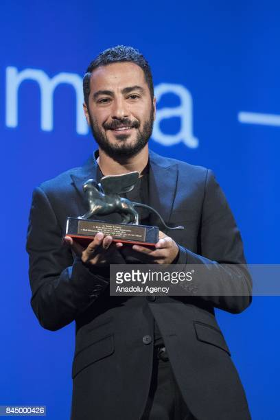 Actor Navid Mohammadzaeh wins the Orizzonti Prize for Best actor with the film 'Bedoune Tarikh Bedoune Emza ' during Ceremony Awards of the 74th...