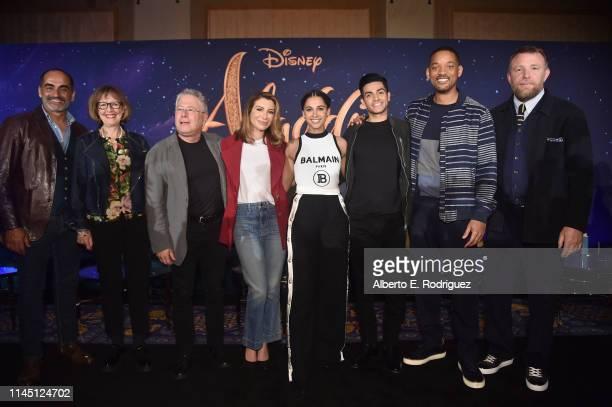 Actor Navid Negahban Production designer Gemma Jackson Composer Alan Menken actors Nasim Pedrad Naomi Scott Mena Massoud Will Smith and Director Guy...