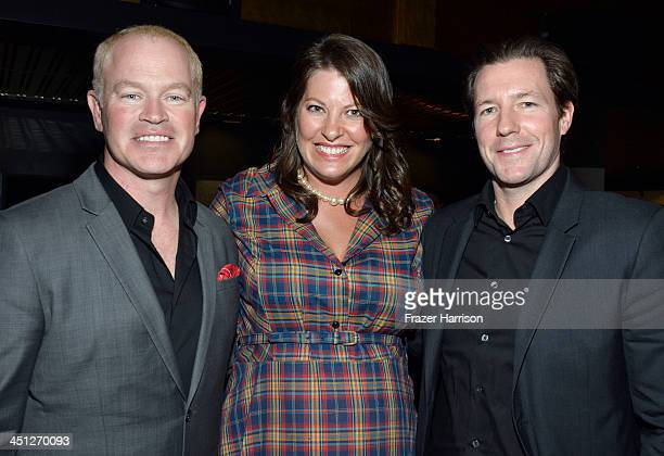 Actor Neal McDonough Ruve McDonough and actor Ed Burns attend TNT's Mob City Screening at TCL 6 Chinese Theatre on November 21 2013 in Hollywood...