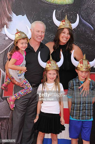 Actor Neal McDonough wife Ruve McDonough and children arrive at the Los Angeles premiere of 'How To Train Your Dragon 2' at the Regency Village...