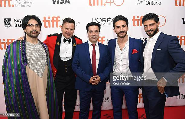 Actor Neamat Arghandabi producer Ted Howard actor Fazal Hakimi actor Kamiran Aldeo and guest attend the Hyena Road premiere during the 2015 Toronto...