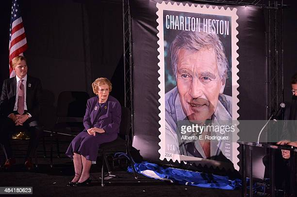 Actor Ned Vaughn and Lydia Clarke attend the postage stamp ceremony during the 2014 TCM Classic Film Festival at TCL Chinese Theatre on April 11 2014...