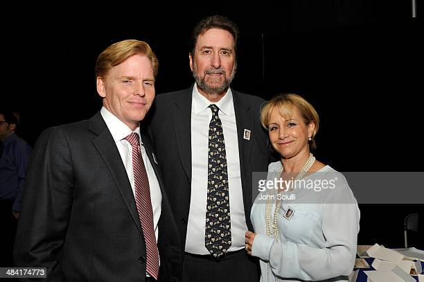 Actor Ned Vaughn director Fraser Heston and actress Gabrielle Carteris attend the postage stamp ceremony during the 2014 TCM Classic Film Festival at...