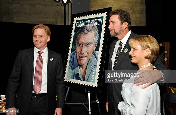 Actor Ned Vaughn, director Fraser Heston and actress Gabrielle Carteris attend the postage stamp ceremony during the 2014 TCM Classic Film Festival...