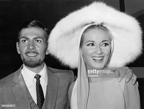 Actor Neil Connery the brother of James Bond star Sean Connery poses with actress Daniela Bianchi at a press conference for the upcoming Bond spoof...