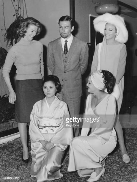 Actor Neil Connery the brother of James Bond star Sean Connery poses with actresses Lois Maxwell Daniela Bianchi Yachuco Yama and Agata Flori at a...