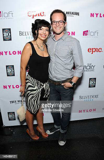Actor Neil Grayston and Ali Correia arrive at the NYLON Magazine June/July Music Issue Launch Party With Shirley Manson at The Roxy Theatre on May 30...