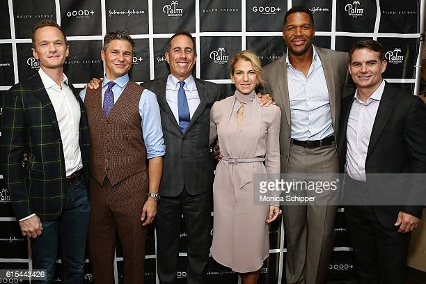 Actor Neil Patrick Harris actor and chef David Burtka comedian and host Jerry Seinfeld founder at GOOD Foundation Jessica Seinfeld TV personality and...