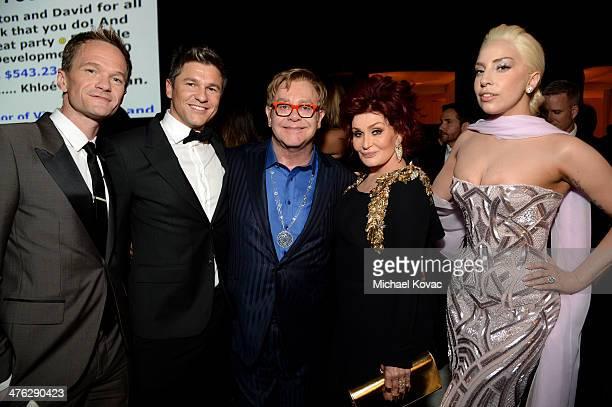 Actor Neil Patrick Harris, actor David Burtka, Sir Elton John, tv personality Sharon Osbourne and recording artist Lady Gaga attend the 22nd Annual...