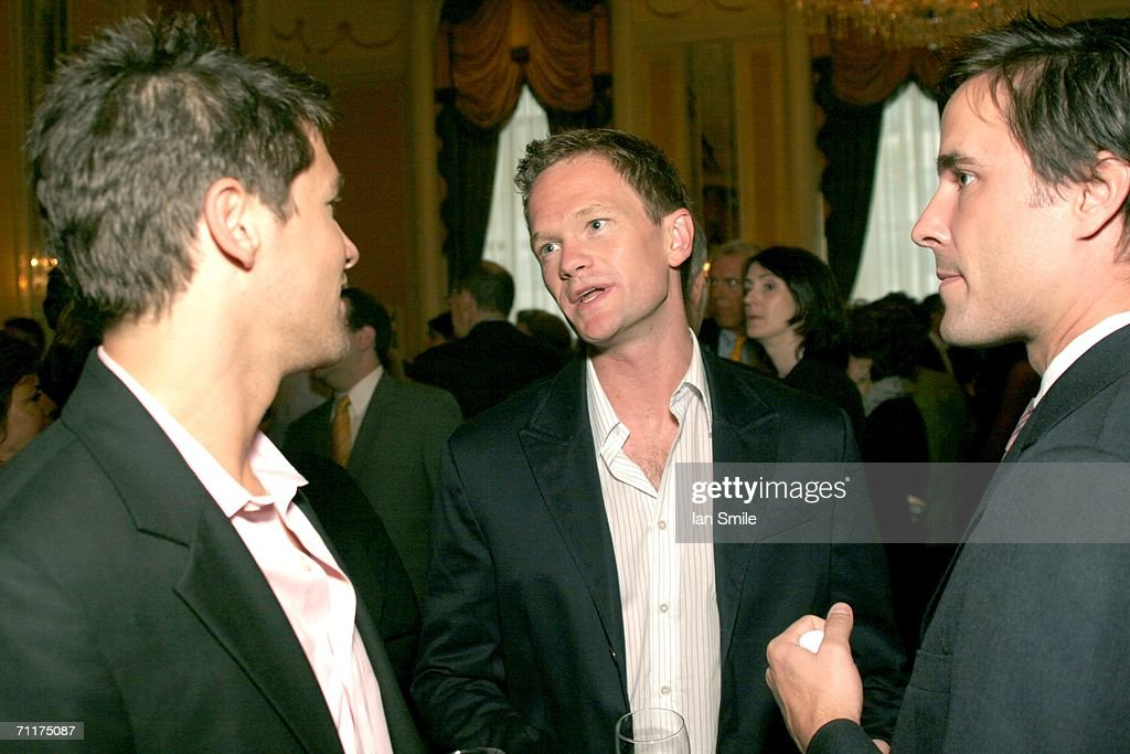 Actor Neil Patrick Harris (C) and actor David Burtka (L) speak at The Tonys Awards Honor Presenters And Nominees at Waldorf Astoria in New York on June 10, 2006 in New York.