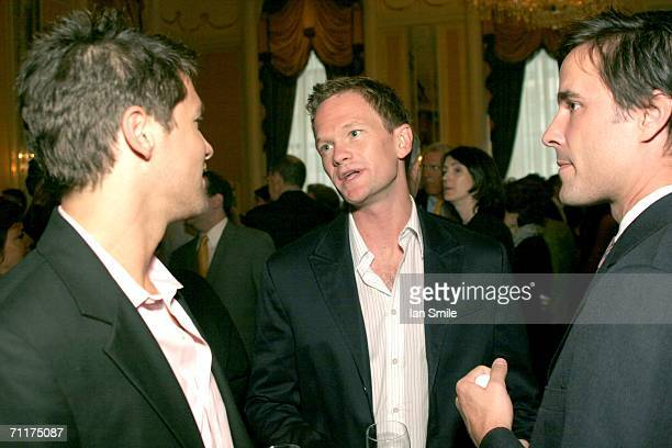 Actor Neil Patrick Harris and actor David Burtka speak at The Tonys Awards Honor Presenters And Nominees at Waldorf Astoria in New York on June 10...