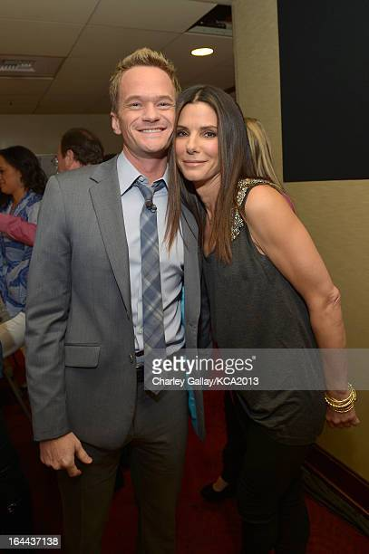 Actor Neil Patrick Harris and actress Sandra Bullock seen backstage at Nickelodeon's 26th Annual Kids' Choice Awards at USC Galen Center on March 23...