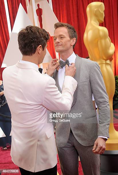 Actor Neil Patrick Harris and David Burtka arrive at the 87th Annual Academy Awards at Hollywood Highland Center on February 22 2015 in Hollywood...