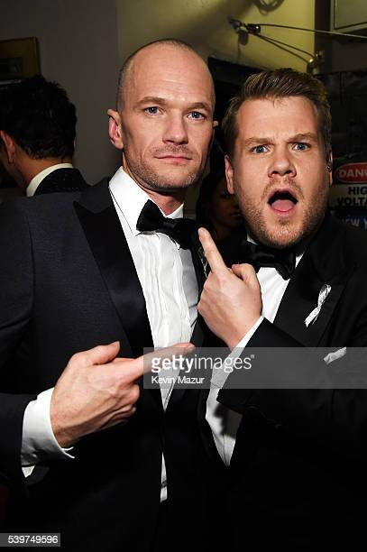 Actor Neil Patrick Harris and host James Corden attend the 70th Annual Tony Awards at The Beacon Theatre on June 12 2016 in New York City