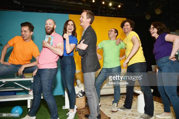 Actor Neil Patrick Harris and improv group OSFUG pose during the Jif Power Ups launch event at Carolines on Broadway on June 26 2018 in New York City