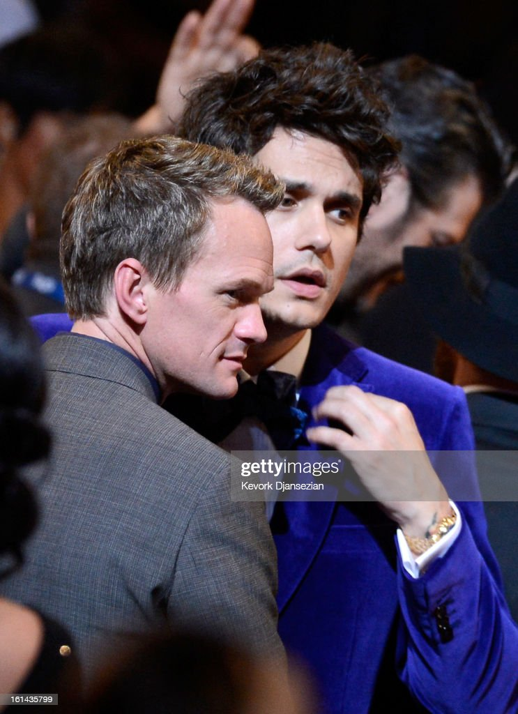 Actor Neil Patrick Harris (L) and musician John Mayer in the audience at the 55th Annual GRAMMY Awards at Staples Center on February 10, 2013 in Los Angeles, California.