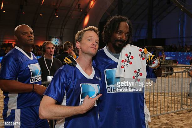 Actor Neil Patrick Harris and rapper Snoop Dogg attend DIRECTV'S Seventh Annual Celebrity Beach Bowl at DTV SuperFan Stadium at Mardi Gras World on...